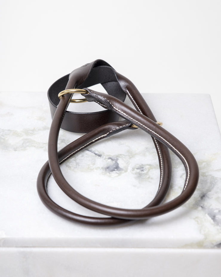 LEATHER YOGA STRAP - CHOCOLATE GOLD