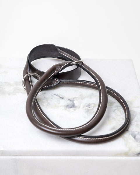 LEATHER YOGA STRAP - CHOCOLATE SILVER