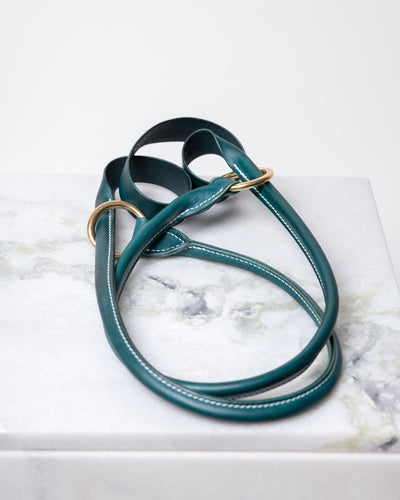 LEATHER YOGA STRAP - CORAL GREEN