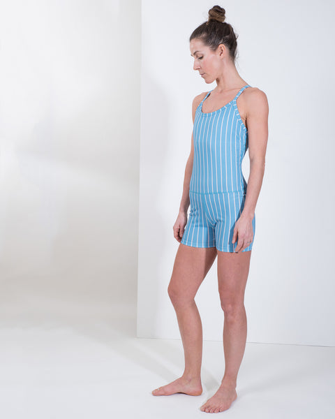 ELLIE LEOTARD - PETROL STRIPE