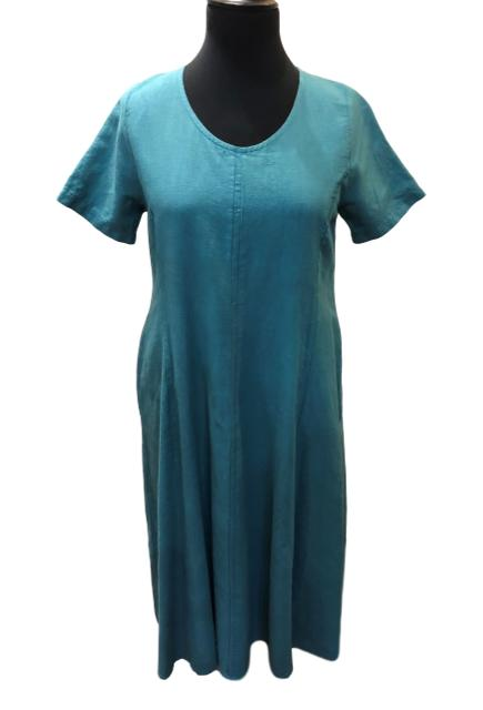 New Season:  Out Of Xile Linen Dress in Teal - You Boutique