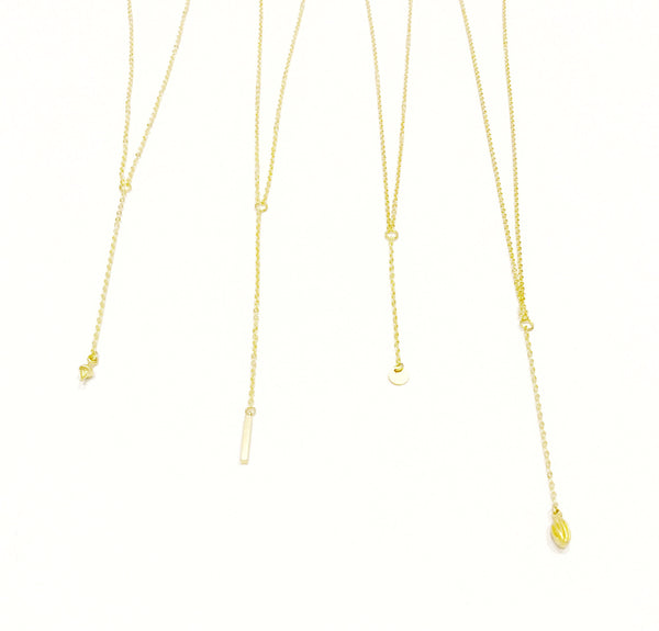 Gold bar Y necklace