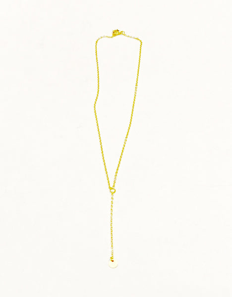 Gold disc Y necklace