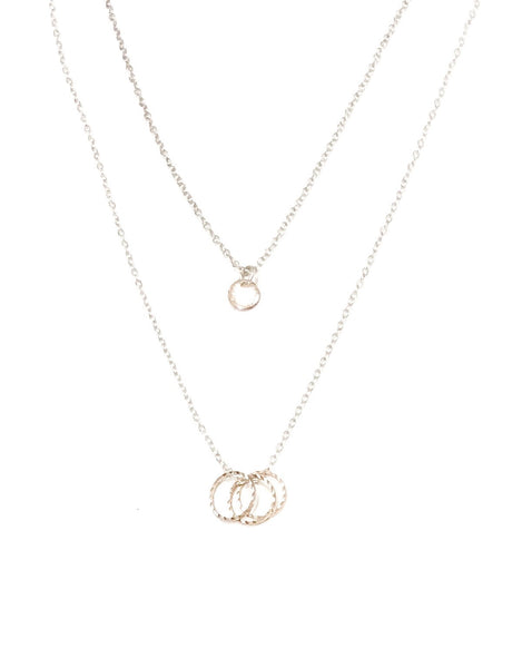 Tiny Rose gold disc necklace