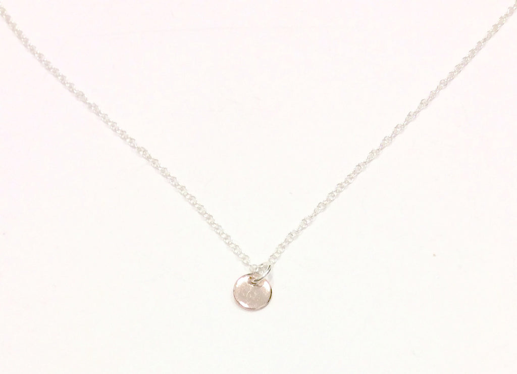 initial personalised disc neck h necklace hammered