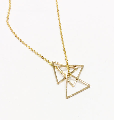 Long Gold Triple Triangle Necklace