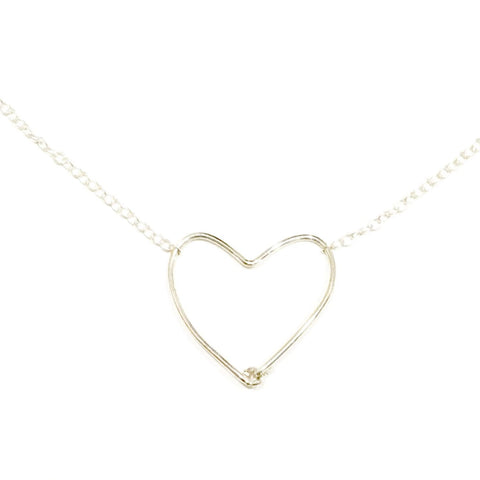 Large silver wire heart necklace