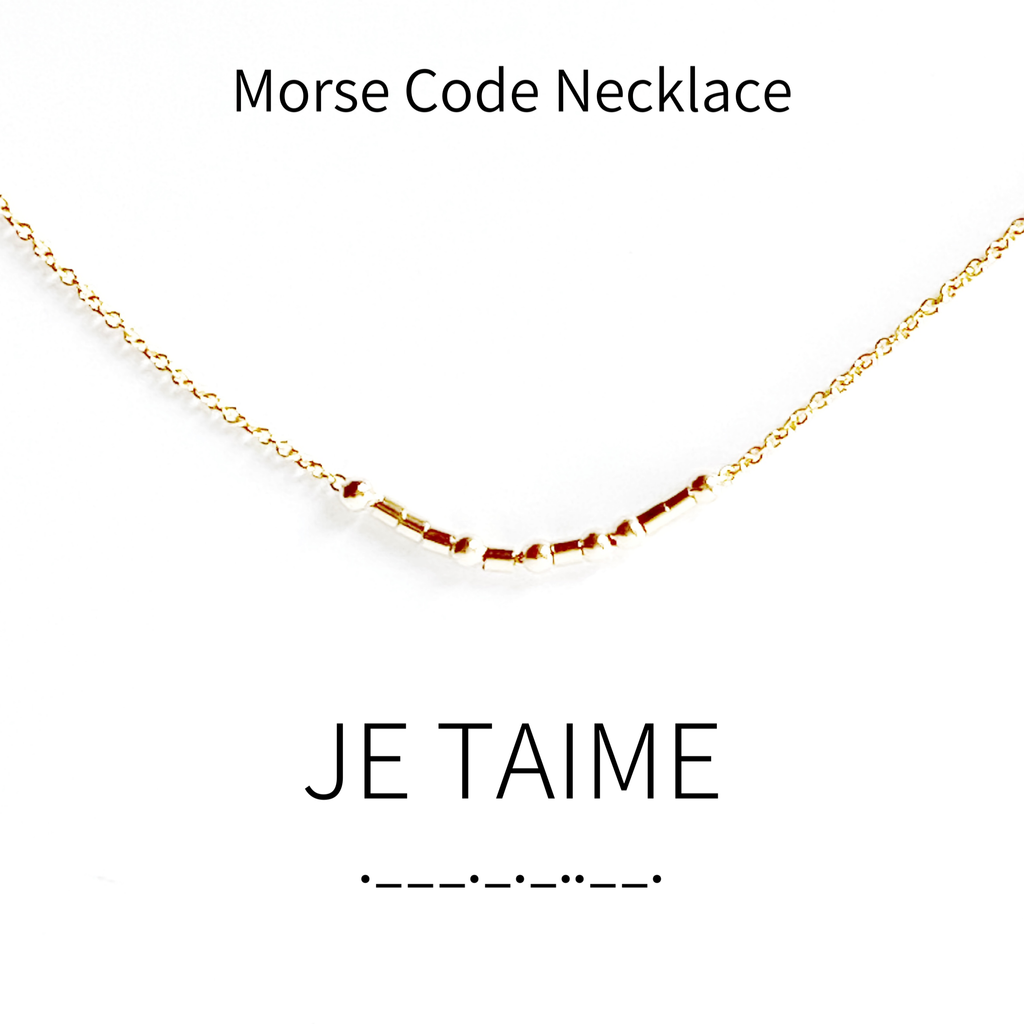 Je t'aime Morse Code Necklace