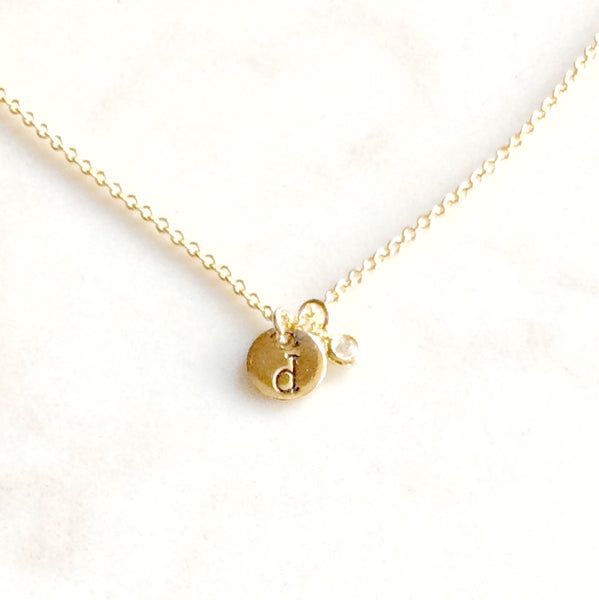 Gold Initial and crystal charm necklace