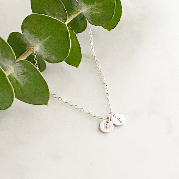 Tiny Silver double initial and crystal charm necklace