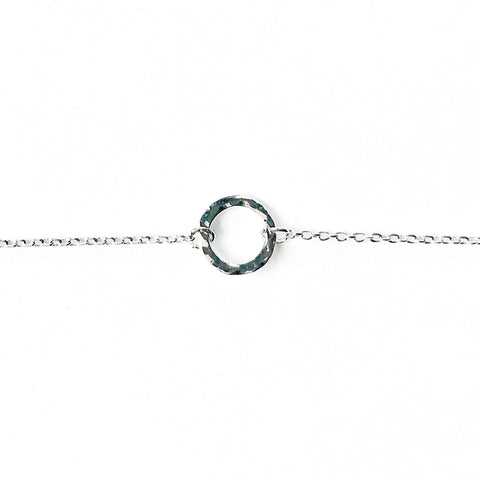 Silver hammered circle bracelet