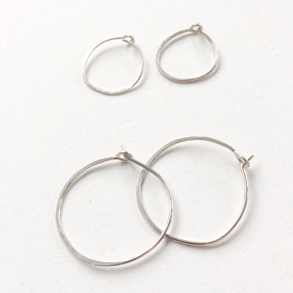Large Silver half hammered hoops