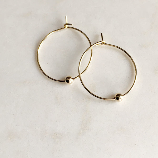 Beaded Gold Hoop