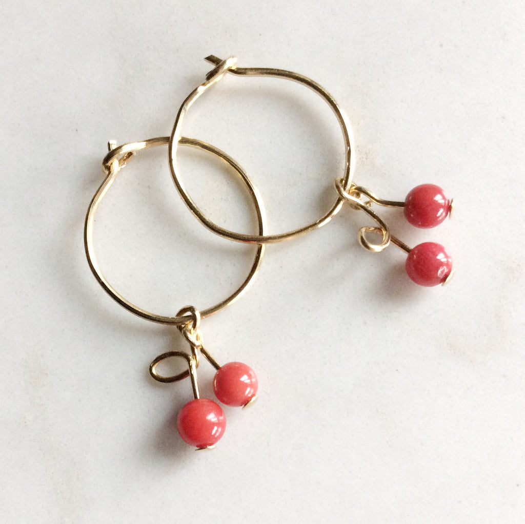Cherries 🍒 Gold Hoop