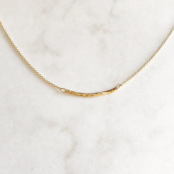 Delicate Hammered Bar Necklace