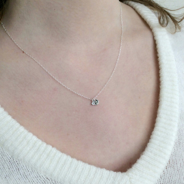 Silver Initial and crystal charm necklace
