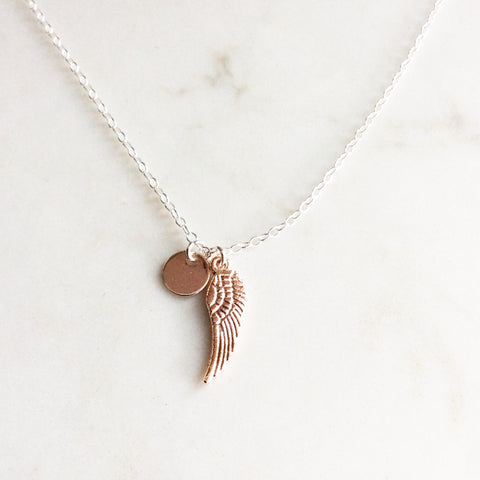 Rose Gold Wing Charm Necklace
