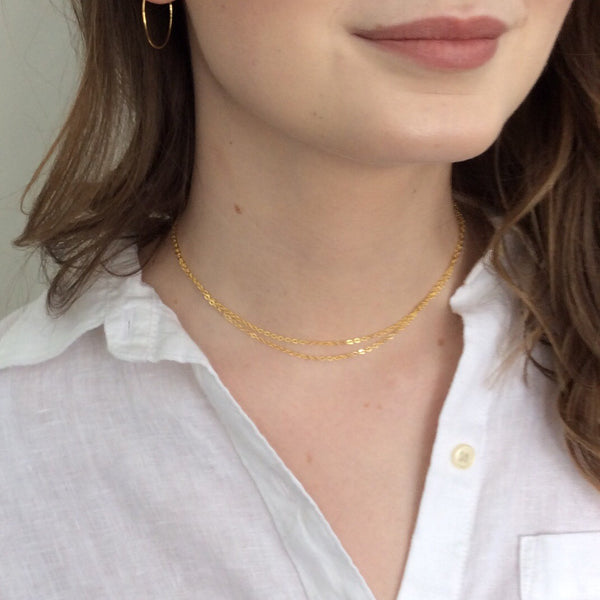Gold double choker