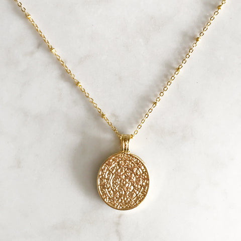 Gold Aztec Coin Necklace
