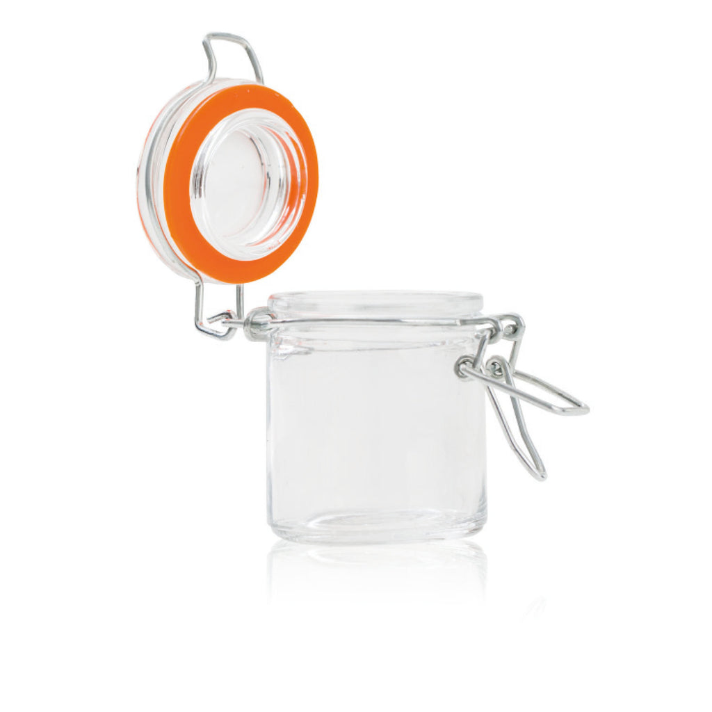 Flip top glass jar x12