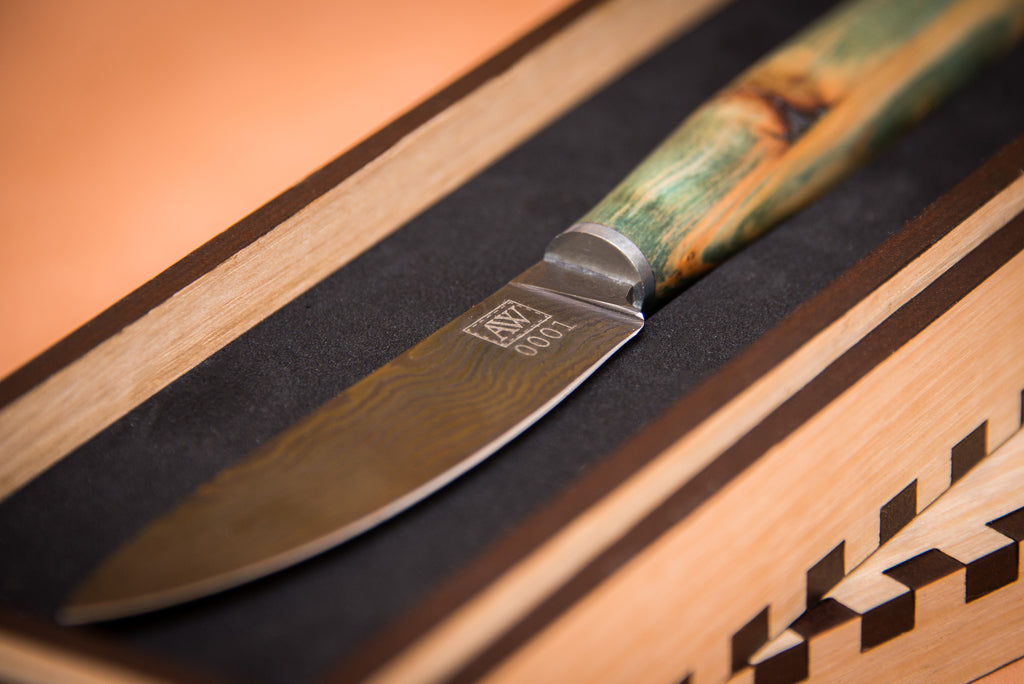 Blued Damascus Steel Cheese Knife