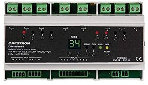 Crestron DIN-8SW8-I Rail High-Voltage Switch with Digital Inputs