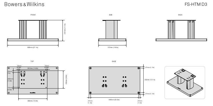 Technical Specifications of B&W FS-HTM D3 Center Speaker Stand