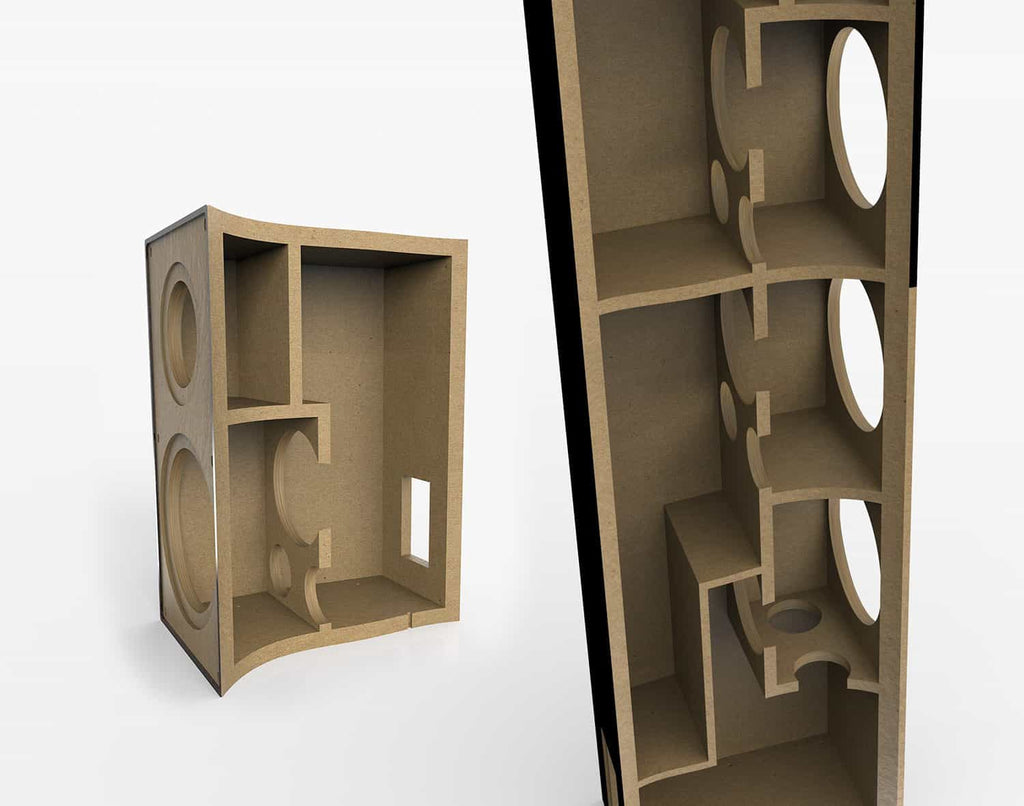 Complex interport-coupled cavity cabinet enclosure designed from scratch