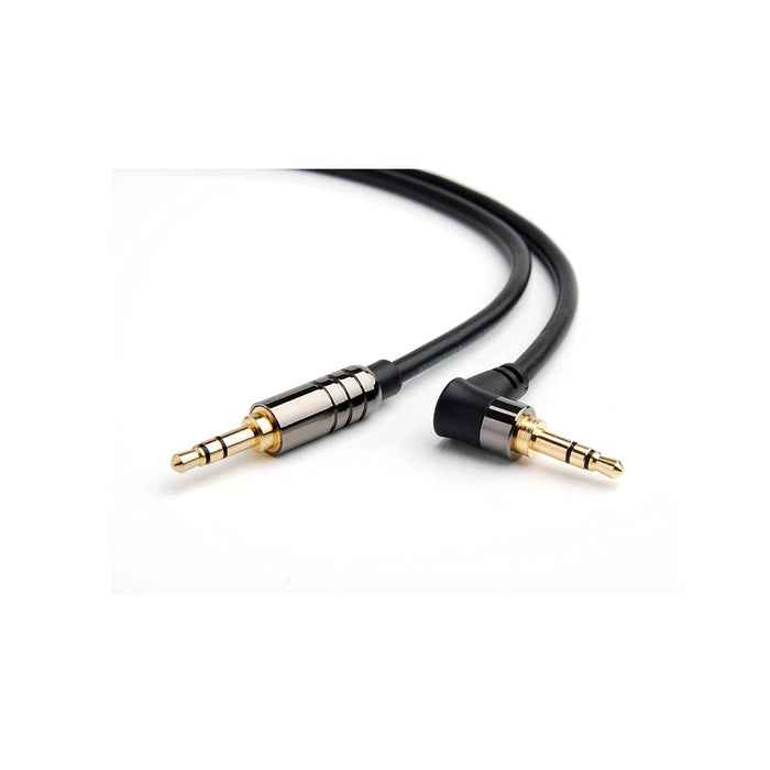 BlueRigger Angled 3.5mm Male to Male Stereo Audio Cable - Black  (6ft /1.8m) - Ooberpad