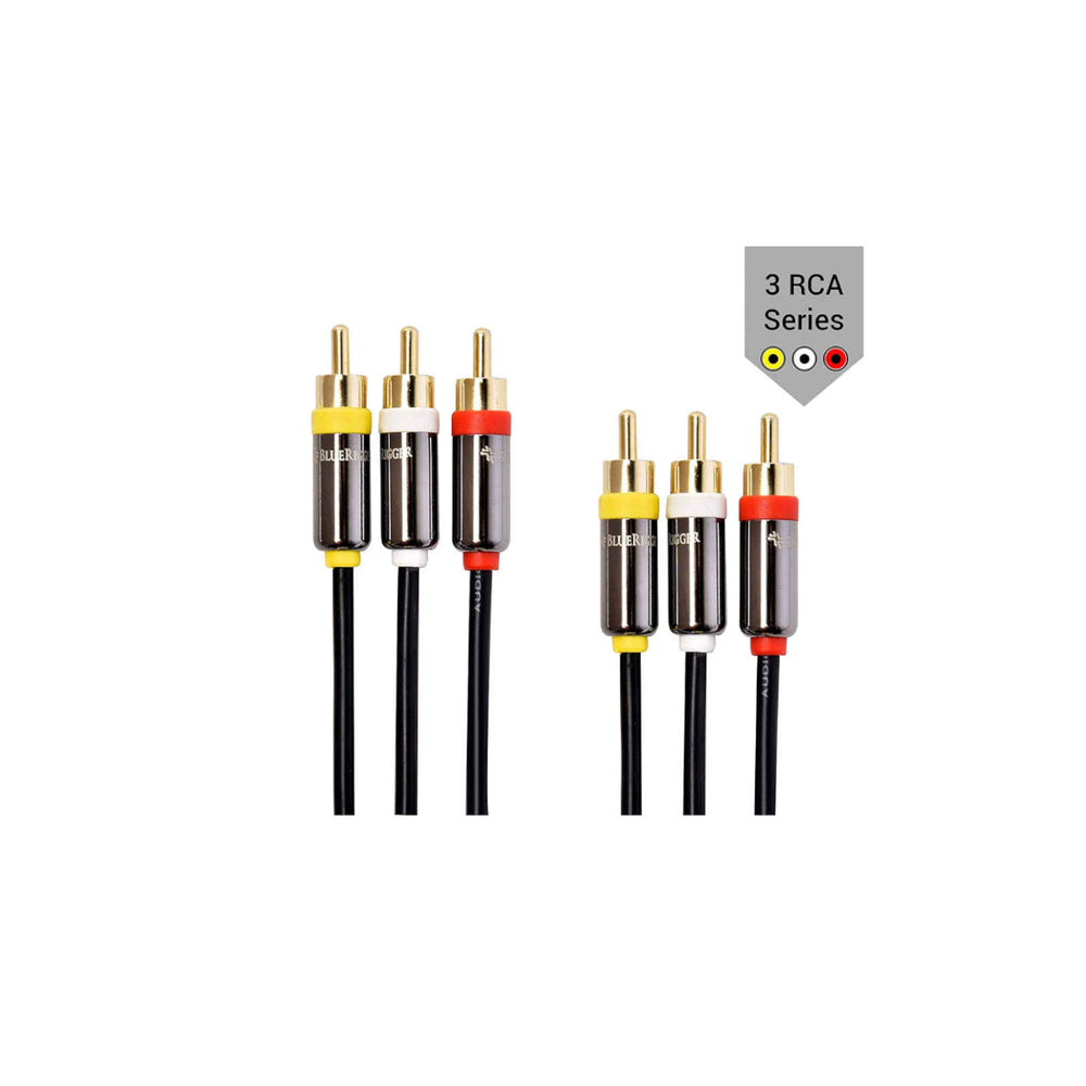 BlueRigger RCA Stereo Cable - 3 x RCA Male to 3 x RCA Male Audio Cable (6ft /10ft /15ft)
