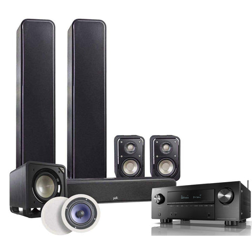 Polk Audio Signature Series 5.1.2 Home Theatre Speaker Package with Polk Audio RC60i In-Ceiling Speaker + Denon AVR-X2700H AV Receiver - Ooberpad