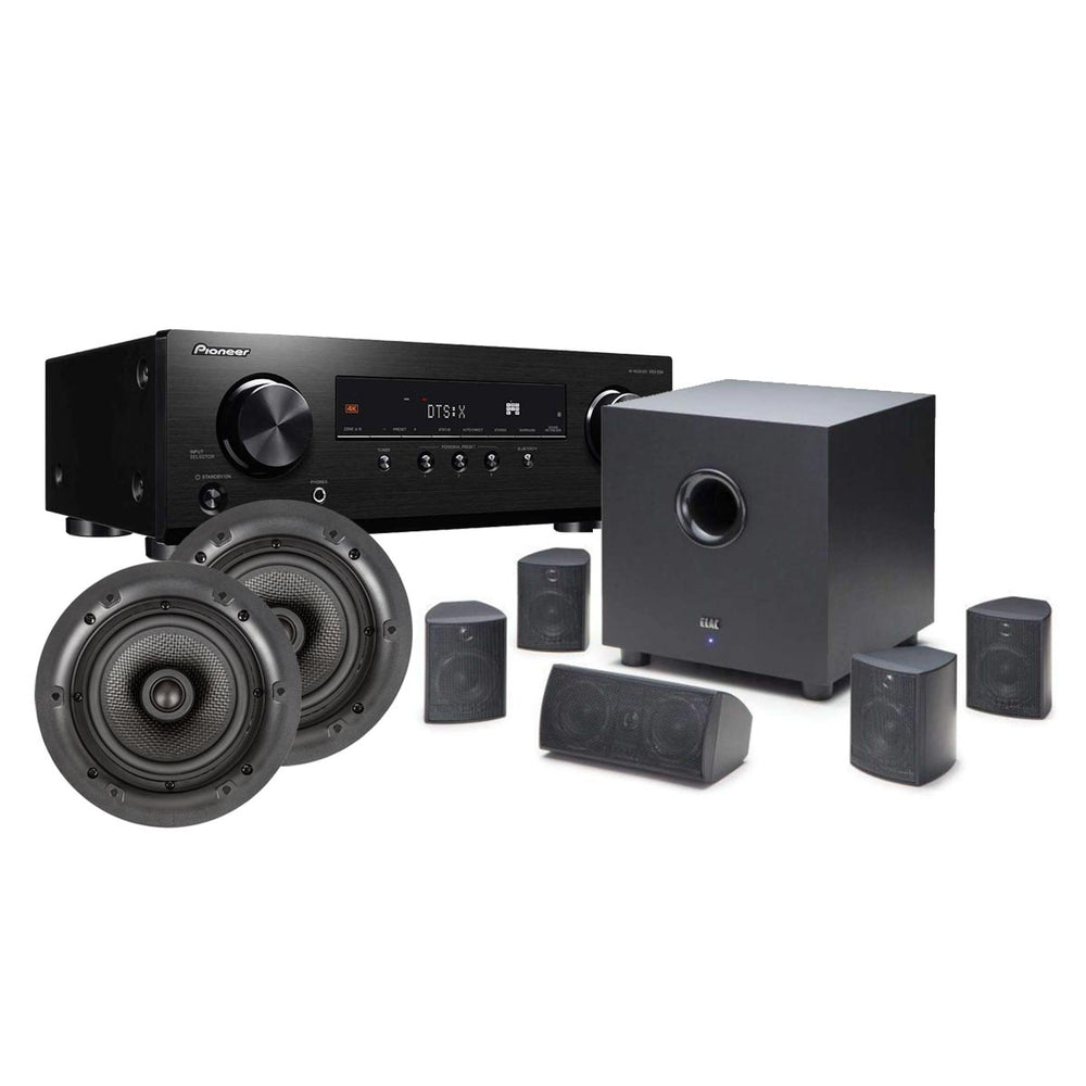 Elac Cinema 5 SET 5.1 Ch Speakers with Elac IC 1005 In-Ceiling Speakers and Pioneer VSX-834 7.2-Ch AV Receiver -  Ooberpad