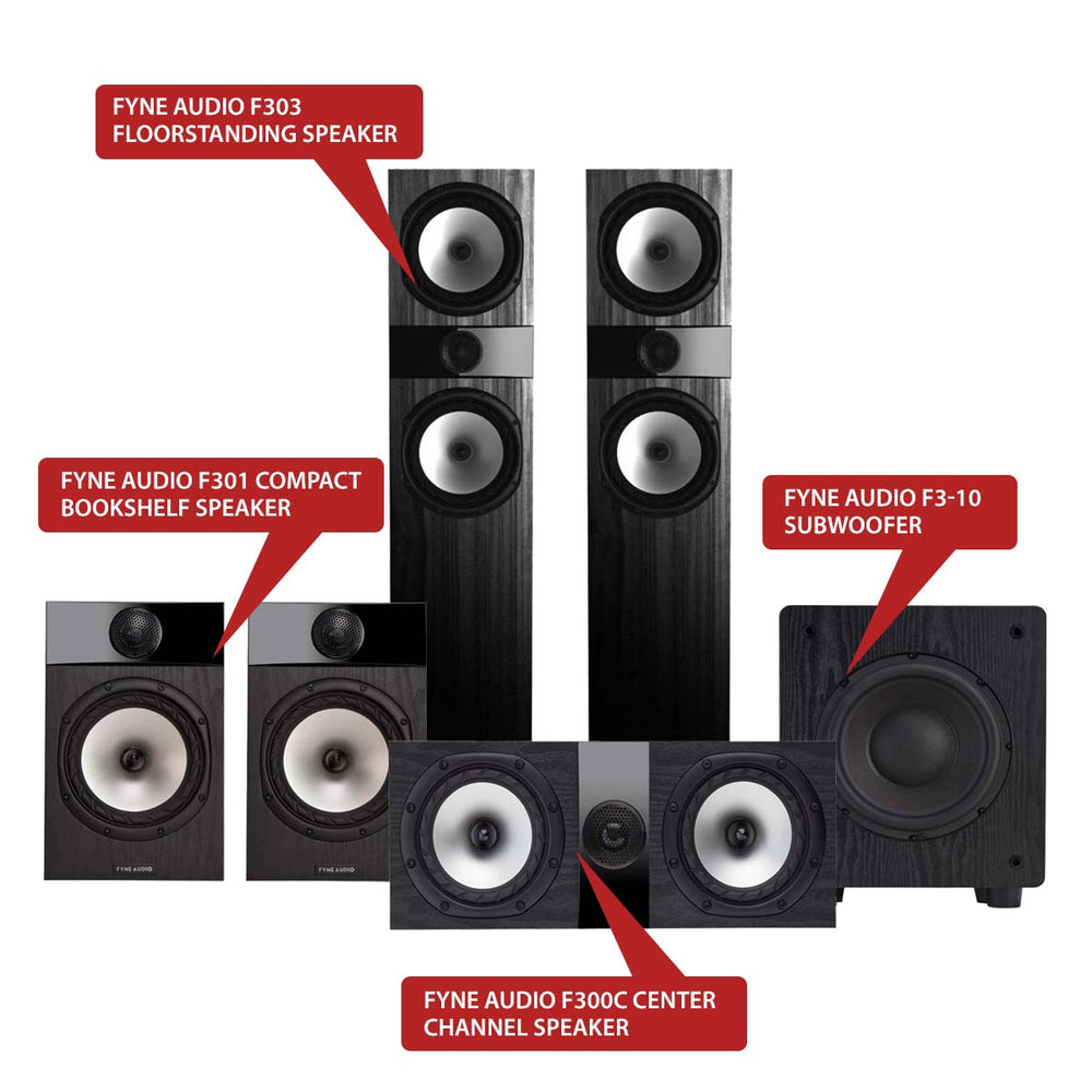 Fyne Audio F303 5.1 Home Theater Speaker Package