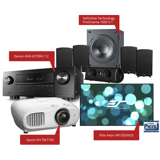 Definitive Technology ProCinema 1000 5.1 Channel Home Theater Speaker Package with Denon AVR-X2700H AV Receiver + Epson EH-TW7100 Projector + Elite Aeon AR120DHD3 Fixed Frame Projection Screen - Ooberpad