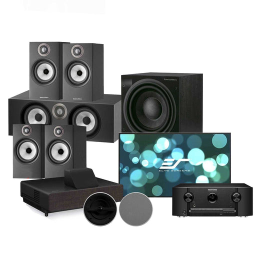 Bowers & Wilkins 600 Series Anniversary Edition 5.1 Channel Home Theatre Speaker Package with B&W CCM362 In-Ceiling Speaker + Marantz SR5015 AV Receiver + Epson EH-LS500B Projector + Elite Aeon AR100WH2 Fixed Frame Projection Screen - Ooberpad