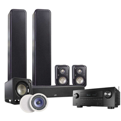 Polk Audio Signature Series 5.1.2 Home Theatre Speaker Package with HTS 12 Sub + Denon AVR-X2600H AV Receiver