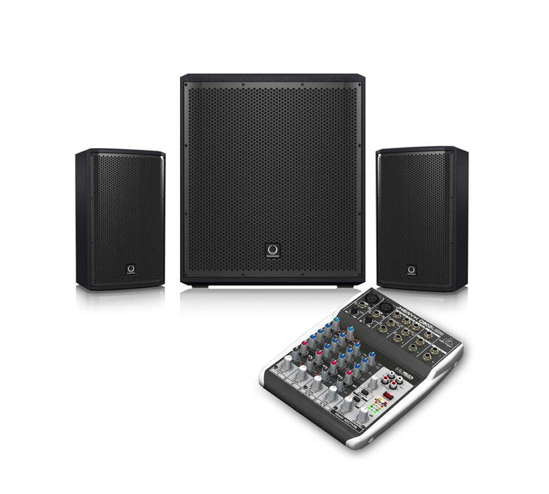 Turbosound iP15B + iP82 + Behringer Q802USB Sound System Package