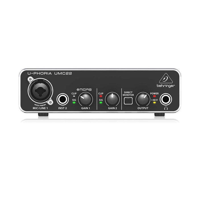 Behringer U-PHORIA UMC22 2x2 USB Audio Interface with Midas Mic Preamplifier - Ooberpad India