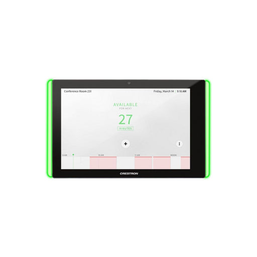 Crestron TSS-10-B-S-LB KIT 10.1 in. Room Scheduling Touch Screen, Black Smooth, with Multisurface Mount Kit and Room Availability Light Bar - Ooberpad