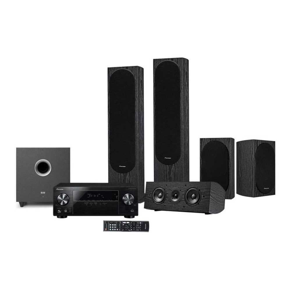 Pioneer SP-PK52FS 5.0 Ch Speaker Package + Elac Debut S8 Powered Subwoofer + Pioneer VSX-531-B 5.1-Ch AV Receiver -  Ooberpad