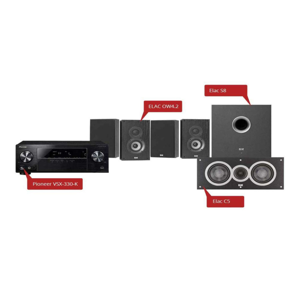 ELAC Debut 2.0 On-Wall 5.1 Home Theater Speaker Package + Pioneer VSX-330-K 5.1 Ch Ultra HD AV Receiver -  Ooberpad