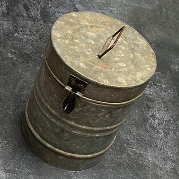 VINTAGE INDIAN GALVANISED METAL STORAGE CANISTER | MEDIUM