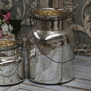 SILVERED HANGING HURRICANE LAMP