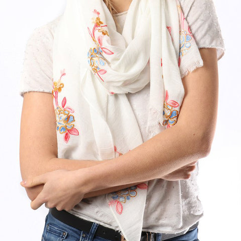 EMBROIDERED ROSES SCARF