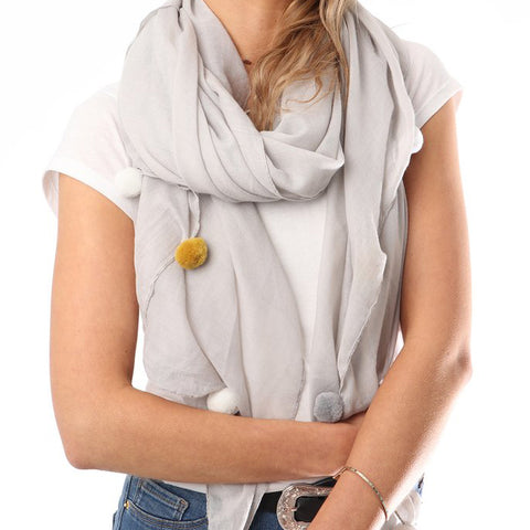 SCARF WITH GREY, WHITE & MUSTARD POM POMS