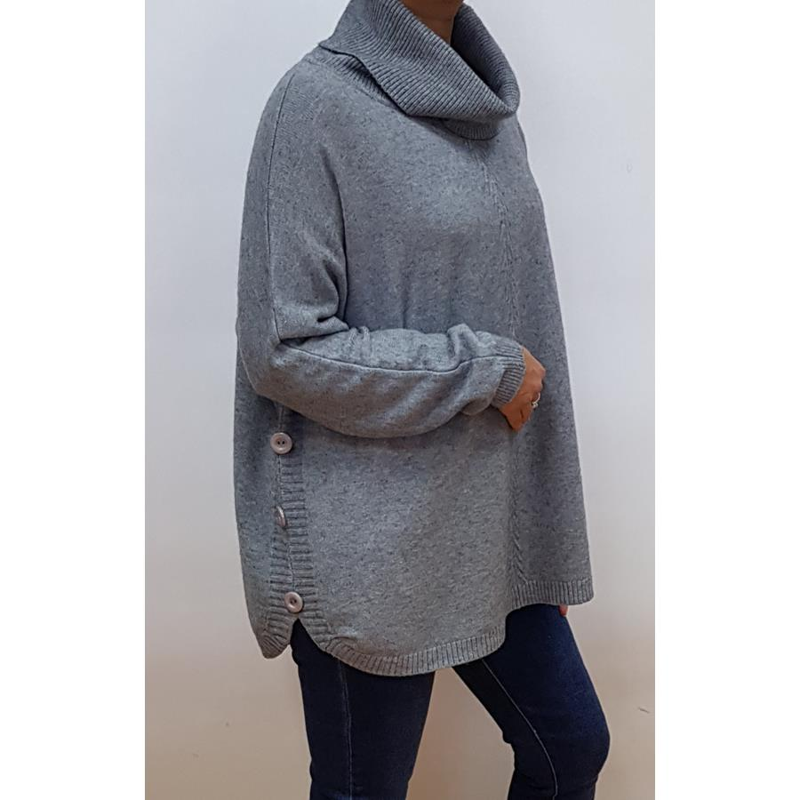 COWL NECK JUMPER WITH SIDE BUTTONS | CHARCOAL GREY