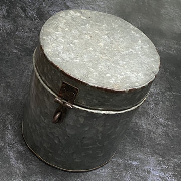 VINTAGE INDIAN GALVANISED METAL STORAGE CANISTER | LARGE
