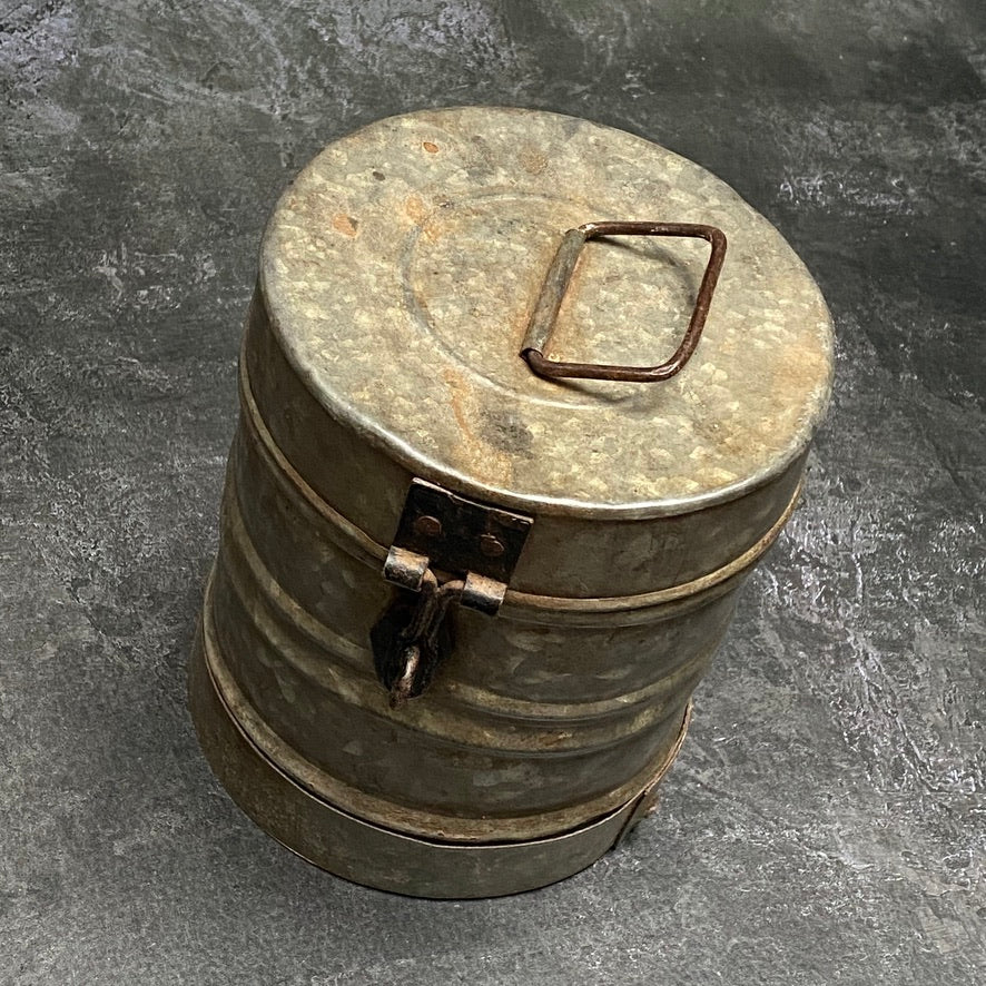 VINTAGE INDIAN WEATHERED GALVANISED METAL STORAGE CANISTER | LARGE