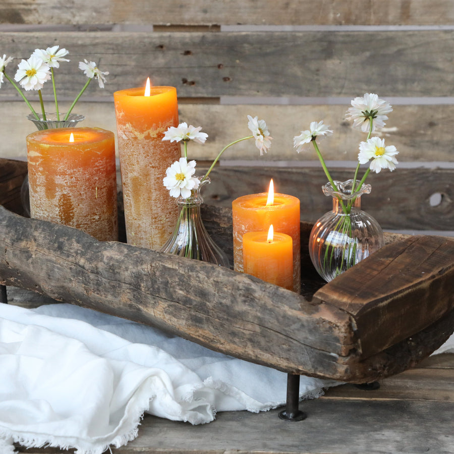 VINTAGE WOODEN TROUGH ON METAL STAND