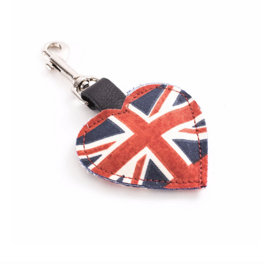 BRITISH FLAG HEART KEY RING